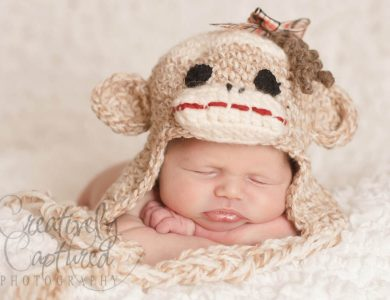girls crochet sock monkey hat
