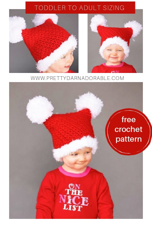 double pom pom crochet hat for baby, child, adult