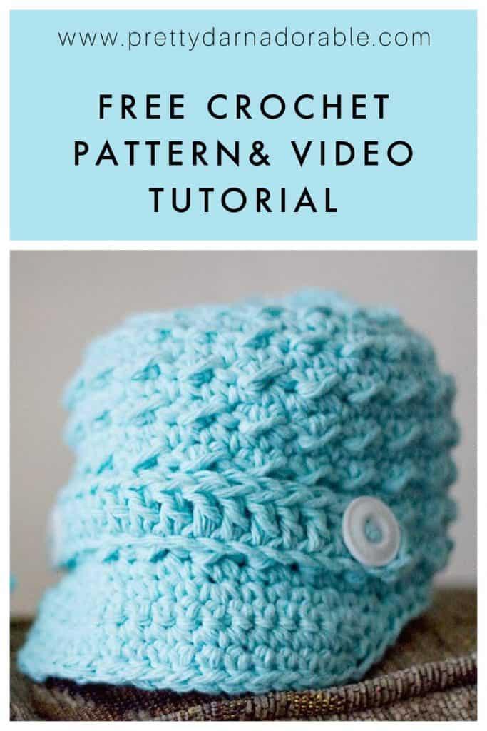 baby crochet newsboy cap made from cotton yarn