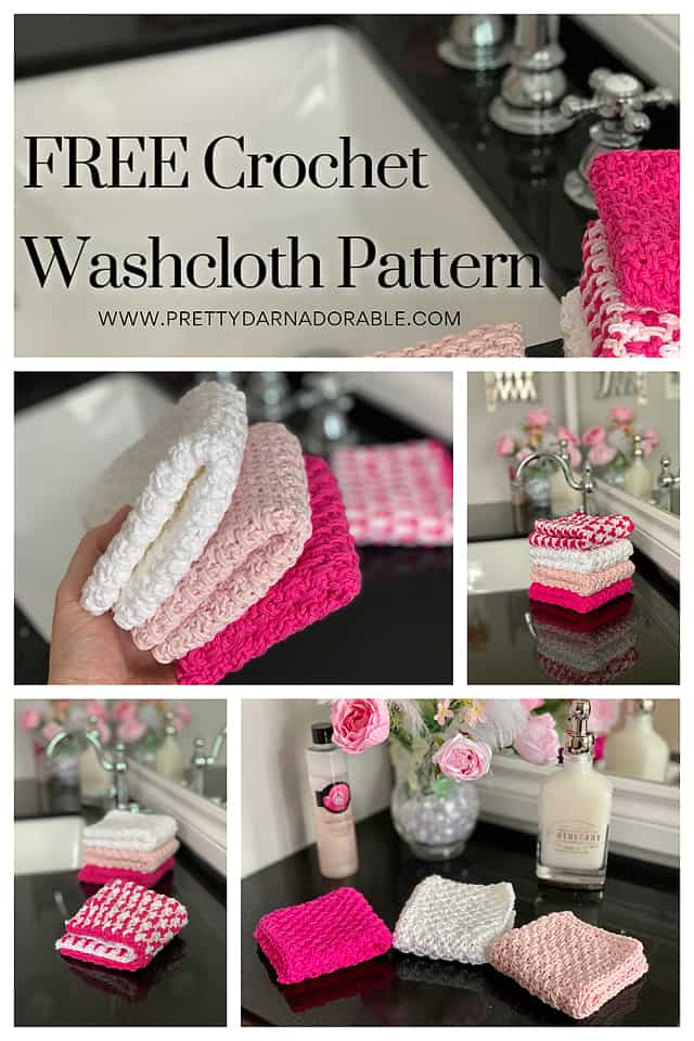 A collage of pictures showing pink washcloths at different angles.