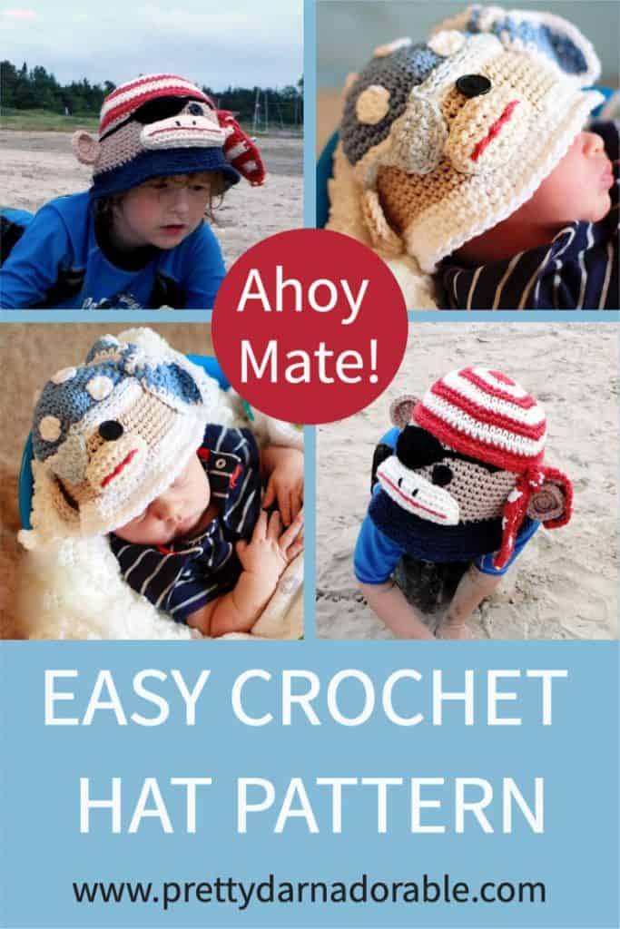 Image shows four styles of crochet sunhat on baby and boy. Hats are crocheted in cotton using red, beige and blue yarn.