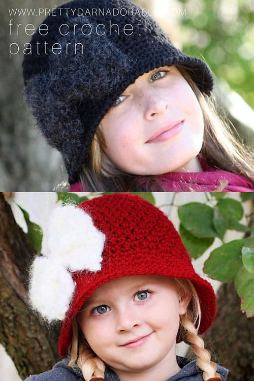 teen and child both wearing crochet cloche